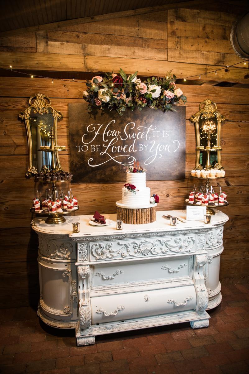 Rustic winter wedding cake table