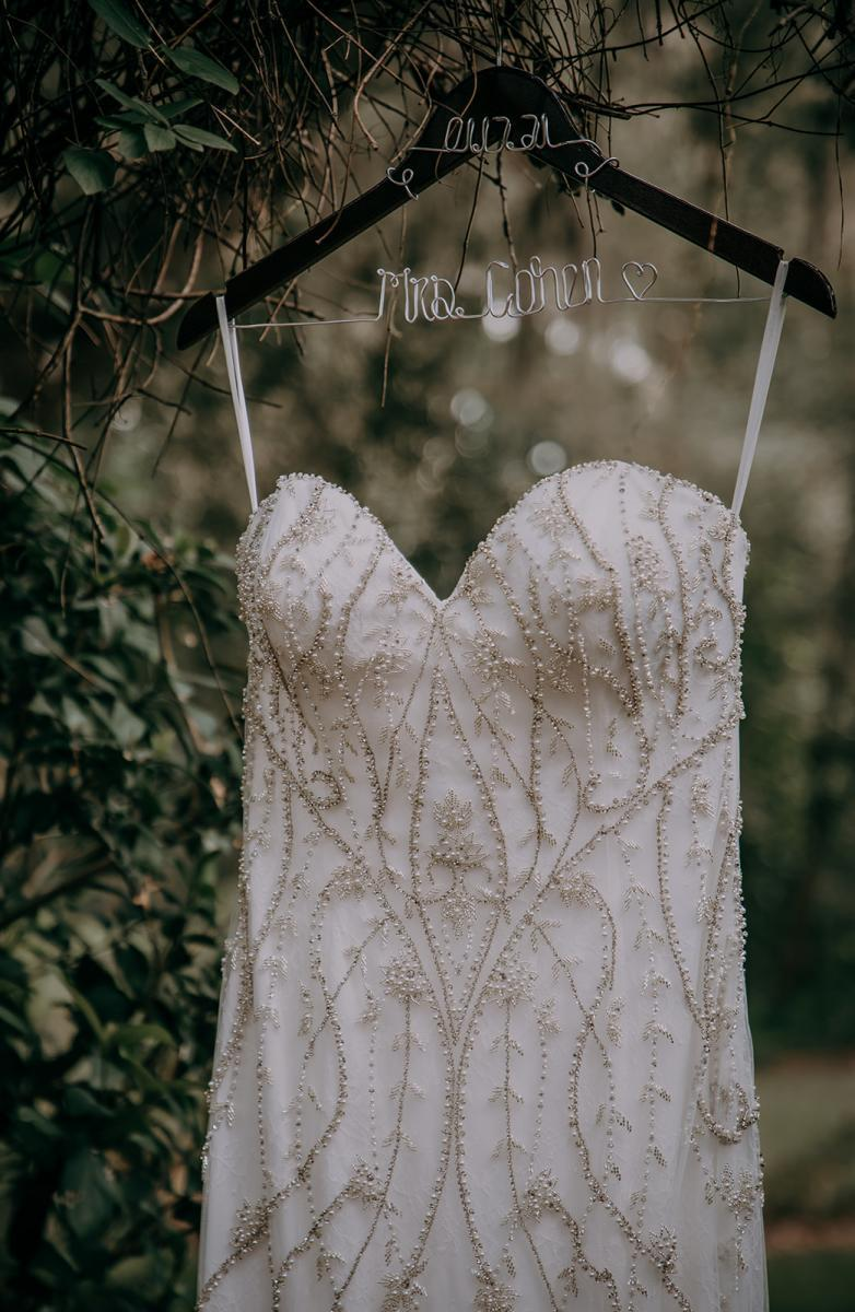 Strappy beaded wedding gown