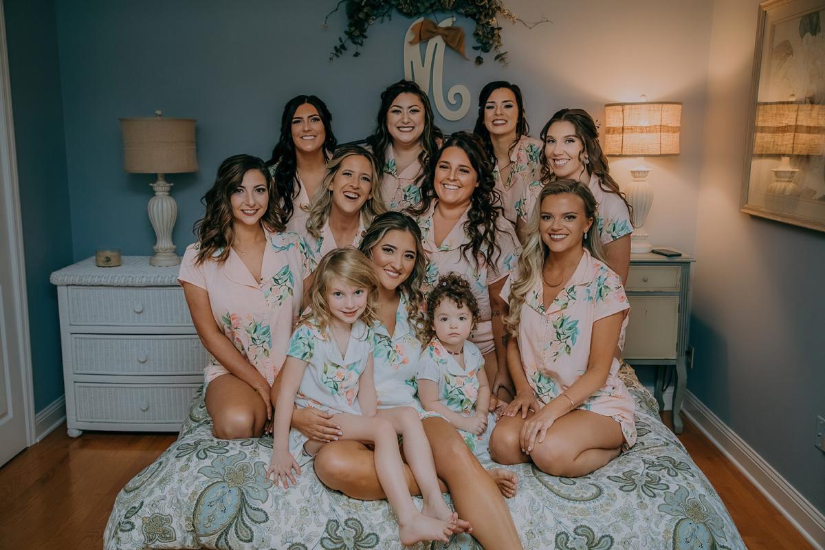 Sarah and her bridesmaids in matching pajamas