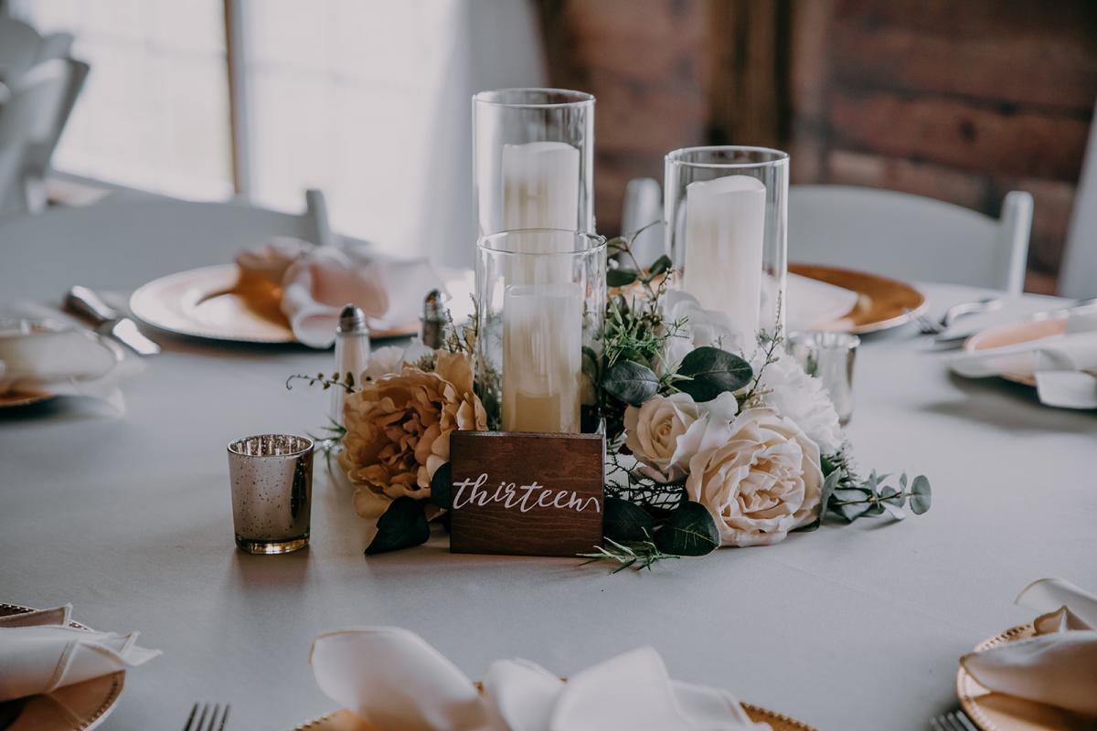 Candlelit wedding reception centerpieces