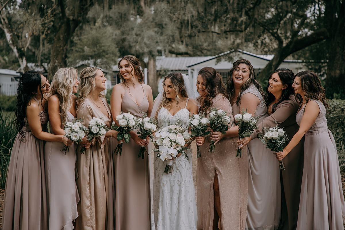 Neutral toned bridesmaid gowns