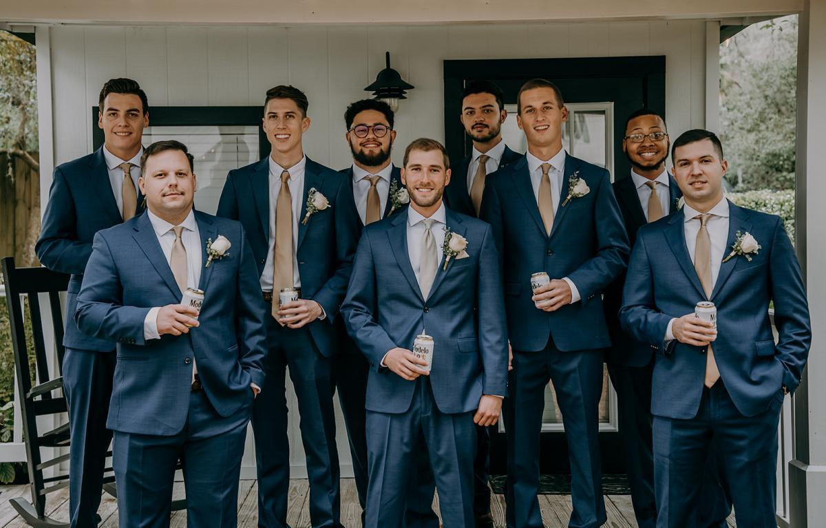 Navy blue wedding suits for the groom and groomsmen