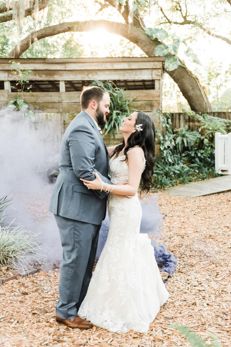 Smoke bomb wedding photos