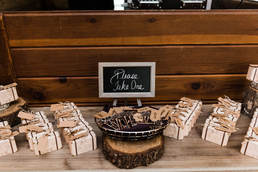 Keys and suitcase wedding guest favors