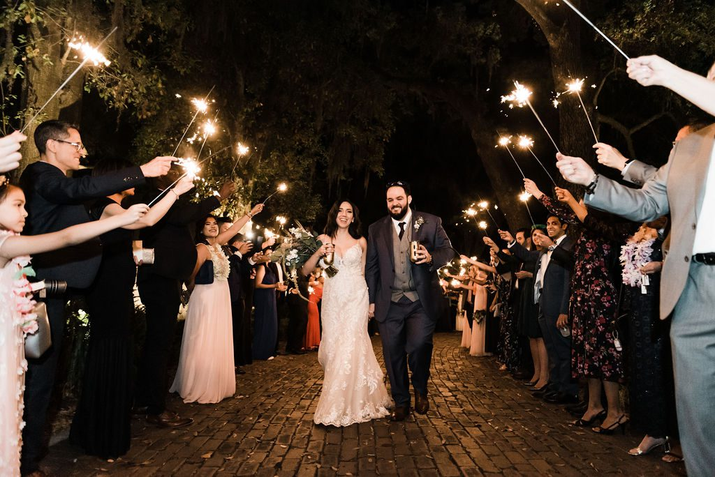 Enchanting wedding sparkler exit