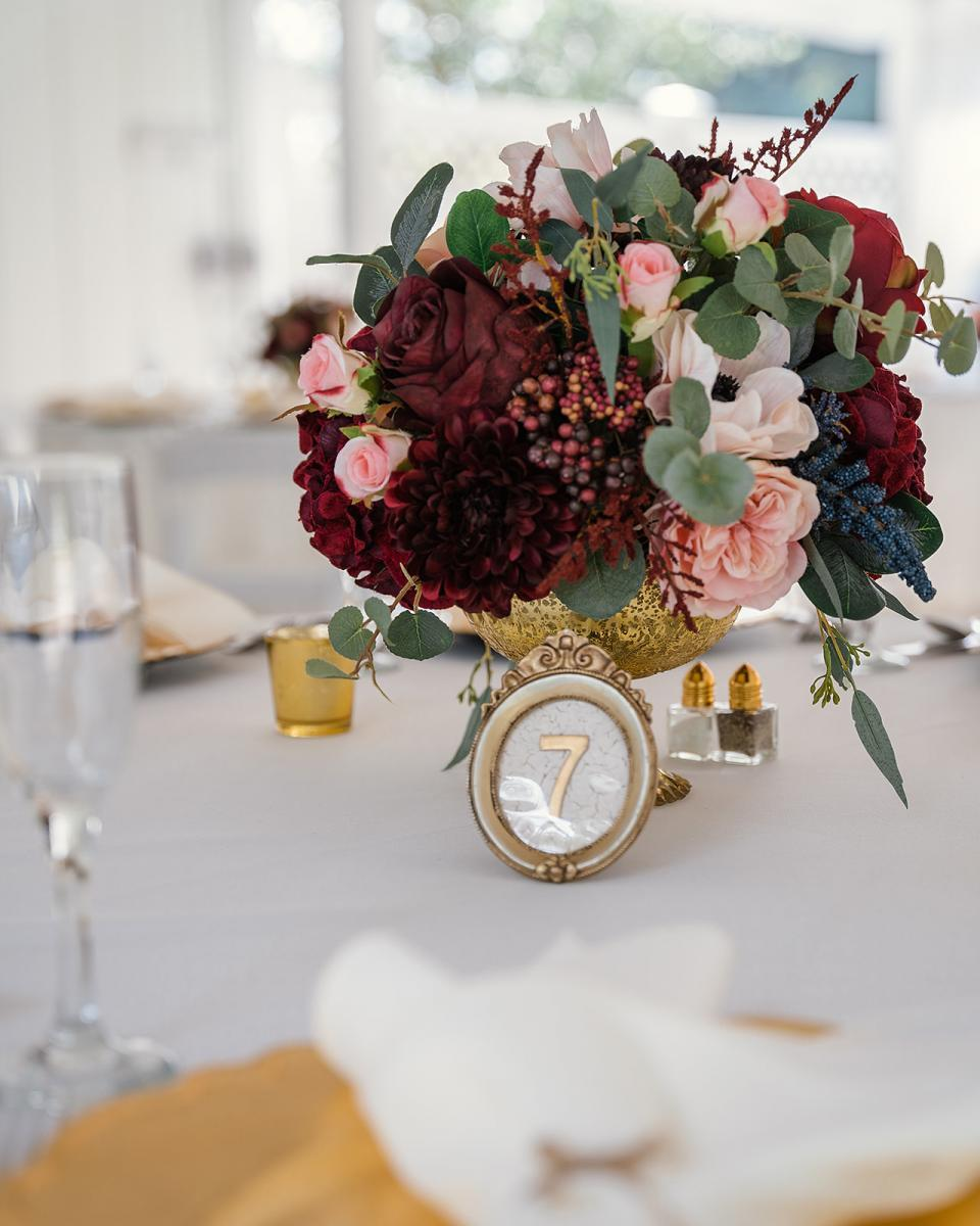 Elegant wedding table numbers