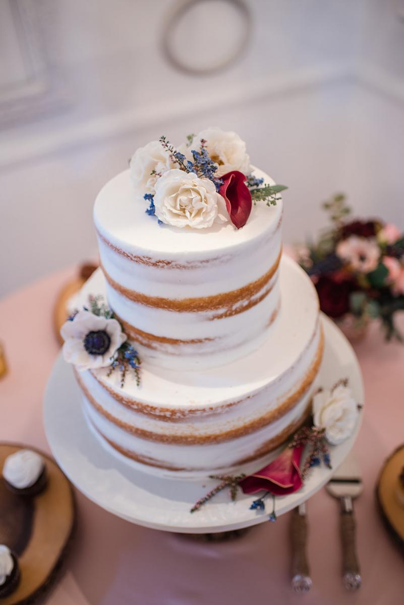 Elegant semi-naked wedding cake