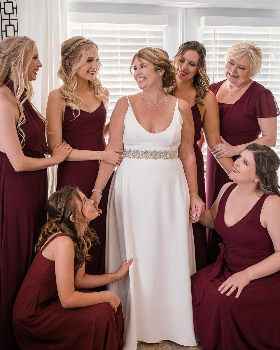 Merlot bridesmaid gowns for an intimate wedding
