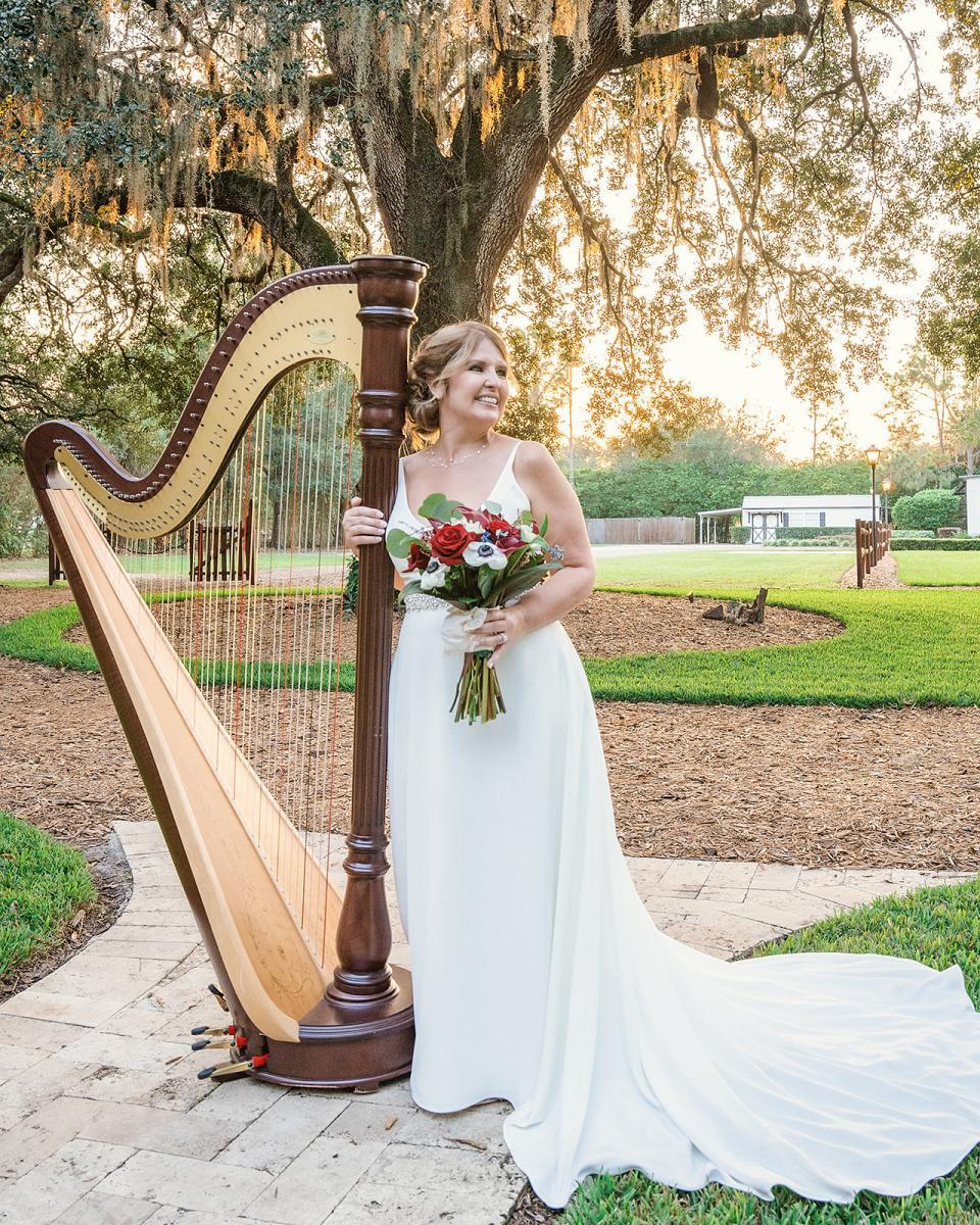 Elegant harp for wedding ceremony music
