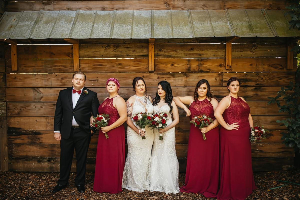 Holiday glam wedding party