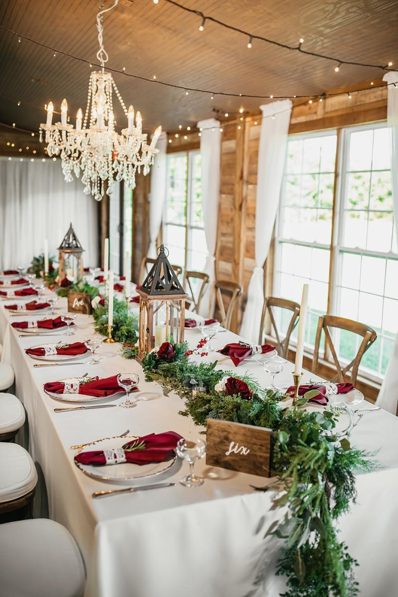 Holiday inspired reception tables
