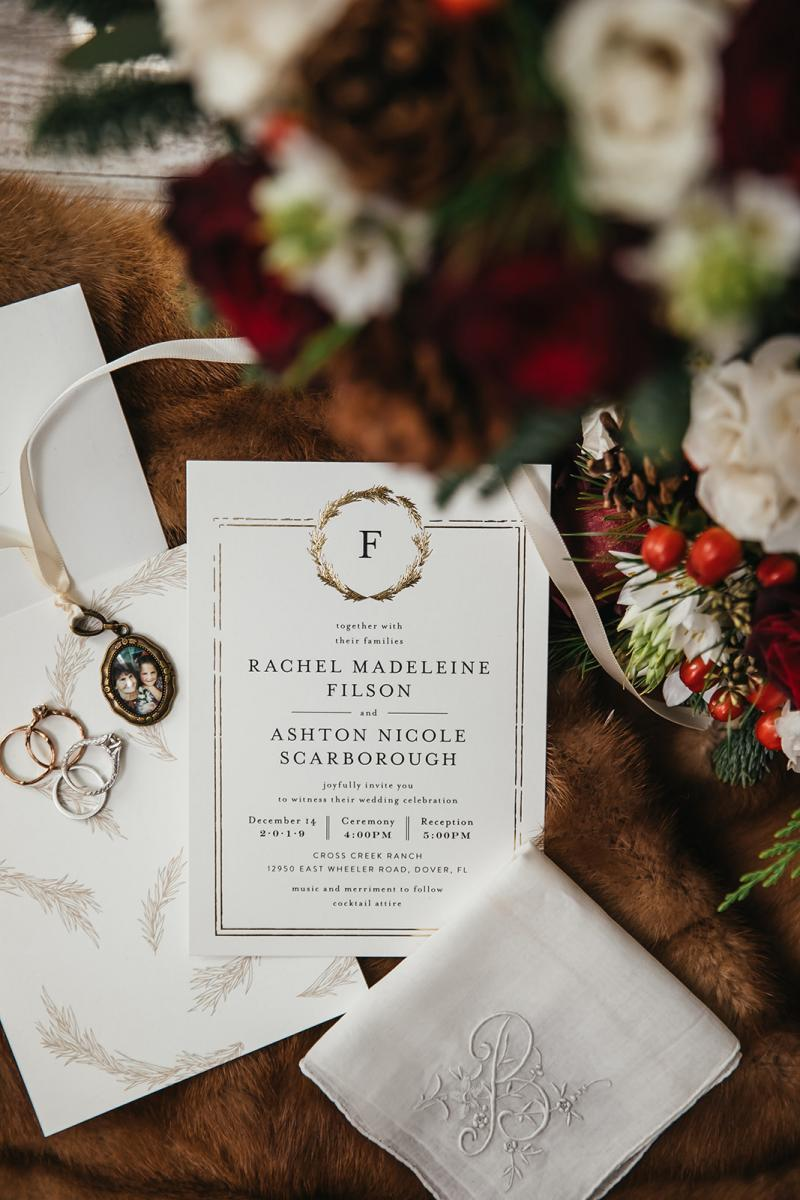 Holiday glam wedding invitations
