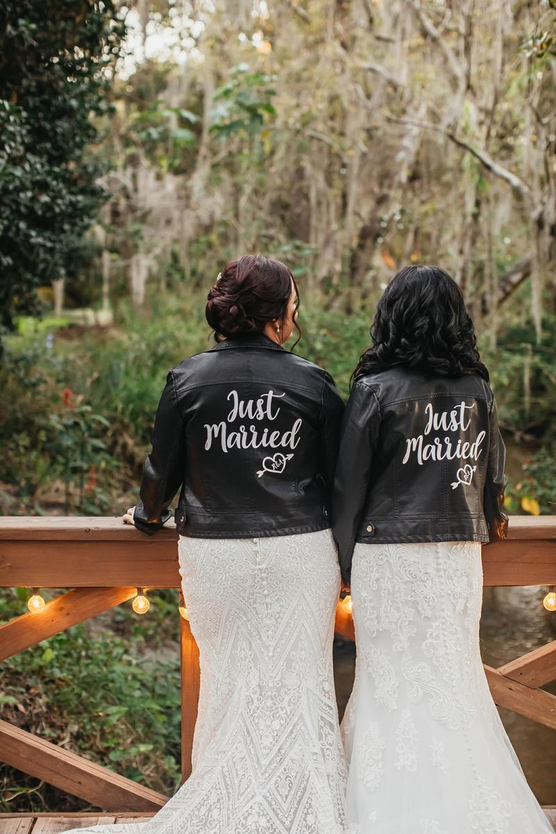 Just married bridal leather jackets