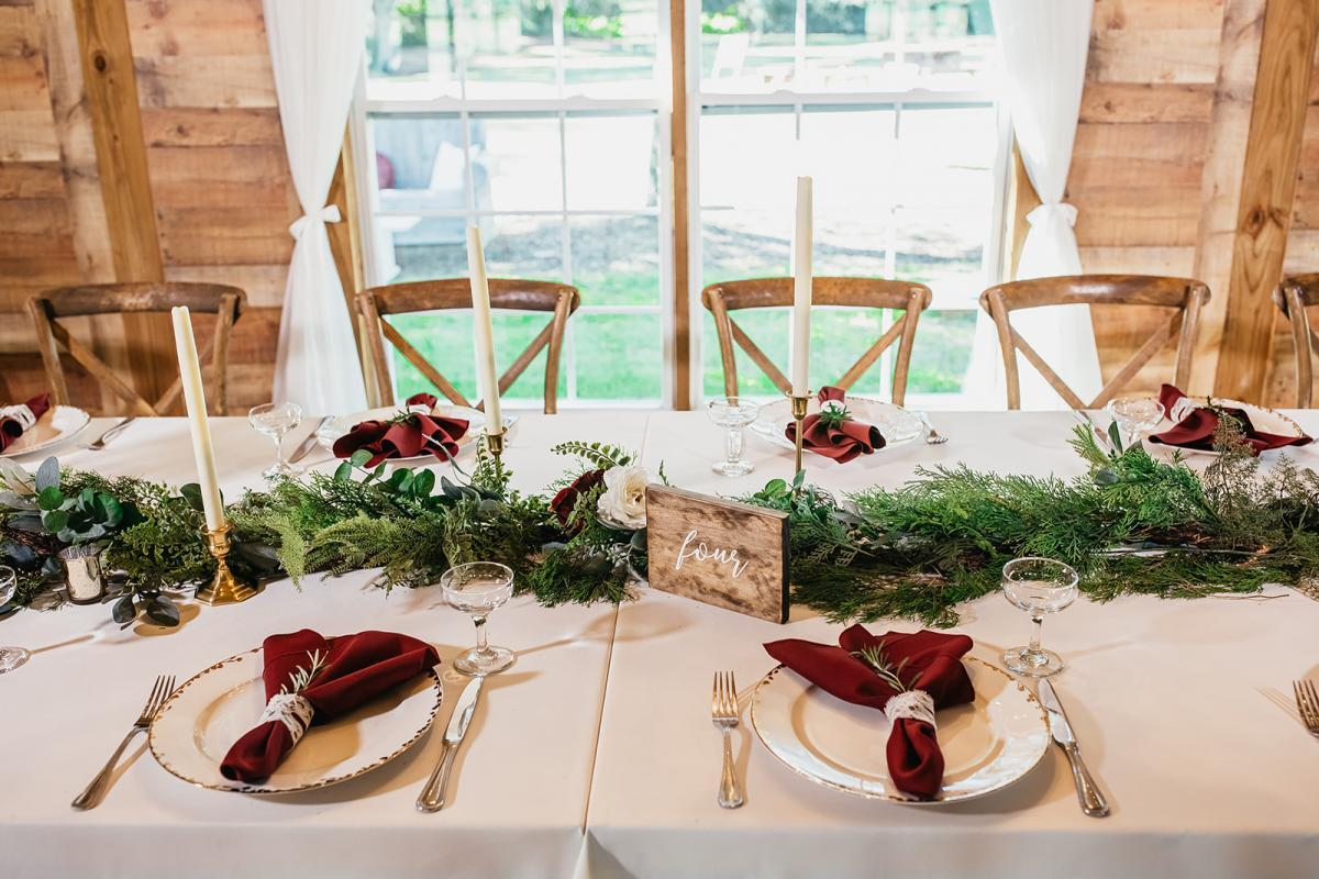 Holiday inspired wedding reception decor