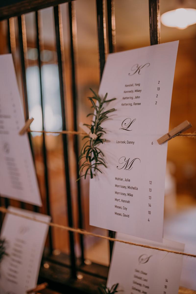 Rosemary detailed wedding seating chart
