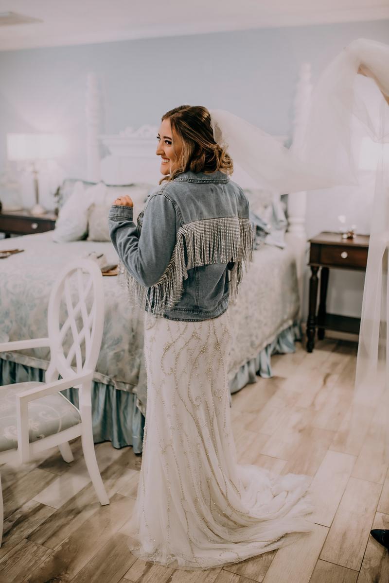 Sparkly fridge jean jacket. Bridal jean jacket