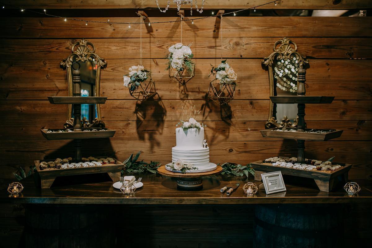 Rustic romantic wedding cake table