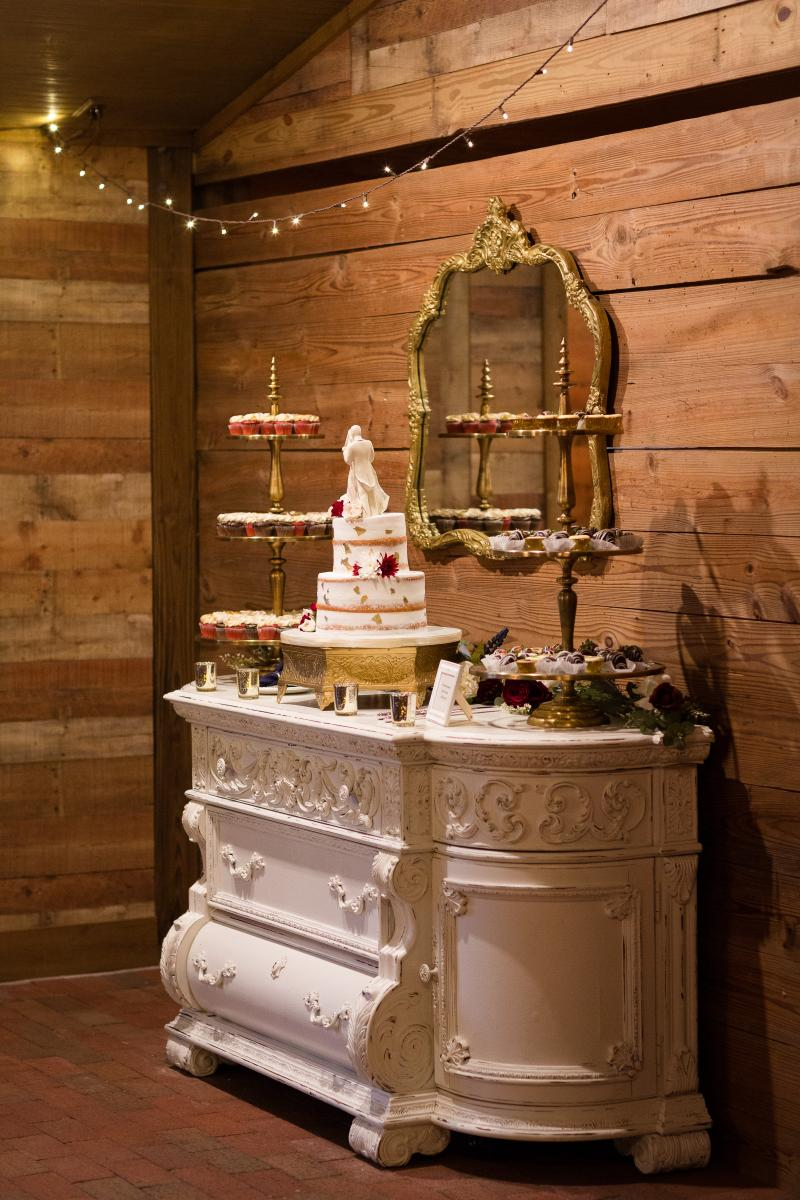 Elegant cake table display