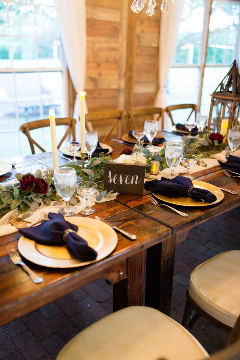 Place settings for a garden rustic wedding