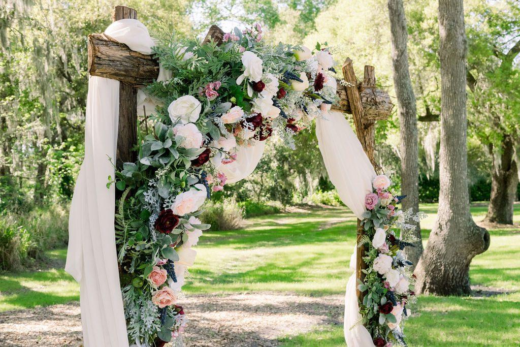Rustic romantic wedding ceremony arch