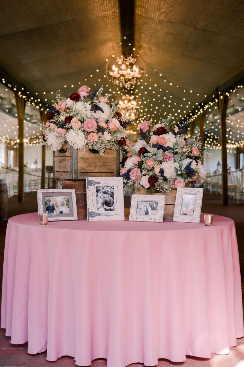 Ultra romantic wedding entrance table