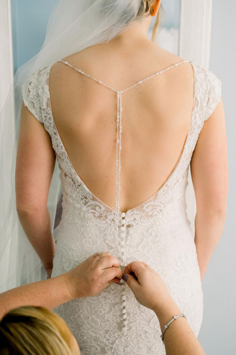 The back of Pam's wedding dress