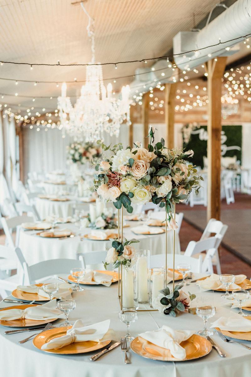 Elegant blush and white wedding reception decor