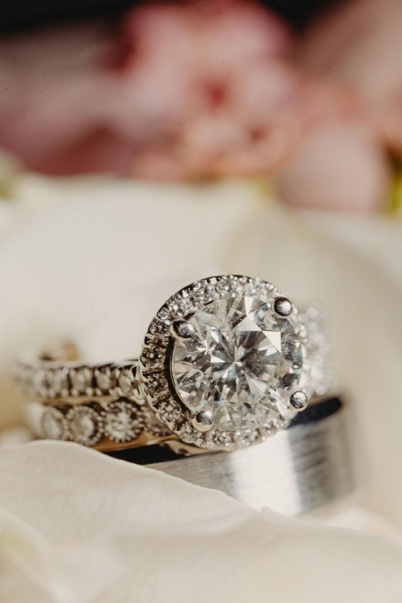 Wedding rings and engagement ring