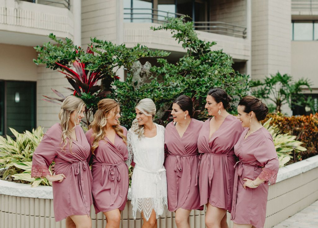 Brandy and her bridesmaids in their wedding robes