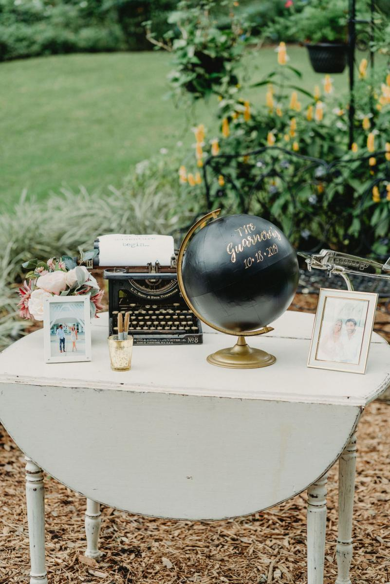 Painted globe wedding guest book