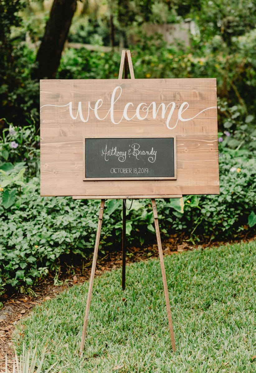 Welcome sign for Brandy and Anthony's wedding