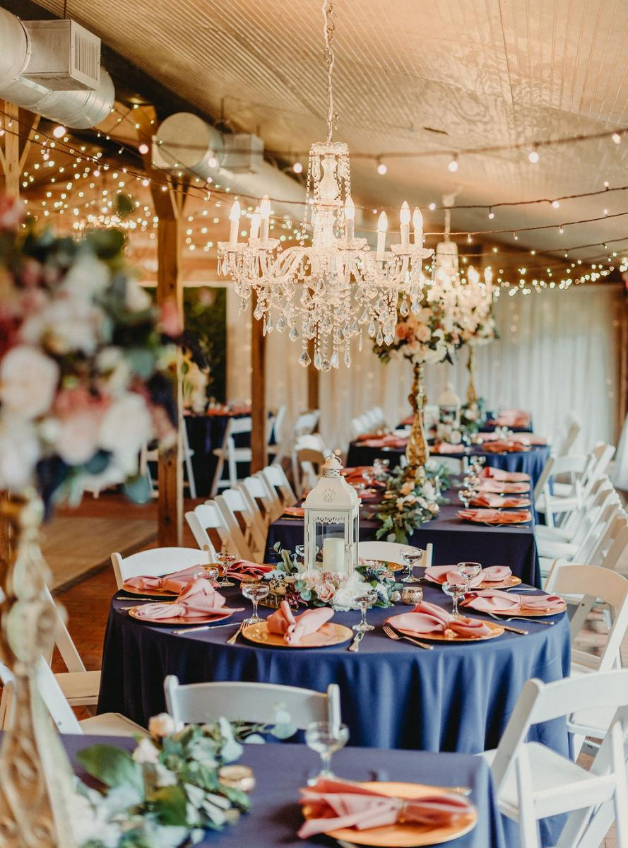 Traditional and elegant wedding reception decor and guest tables