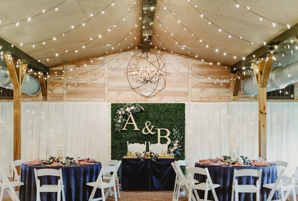 Brandy and Anthony's sweetheart table backdrop. A greenery wall with their initials