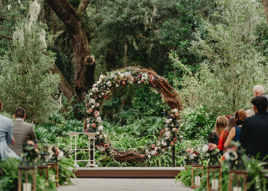 The Grape Vine Wreath in the Enchanted Forest ceremony location