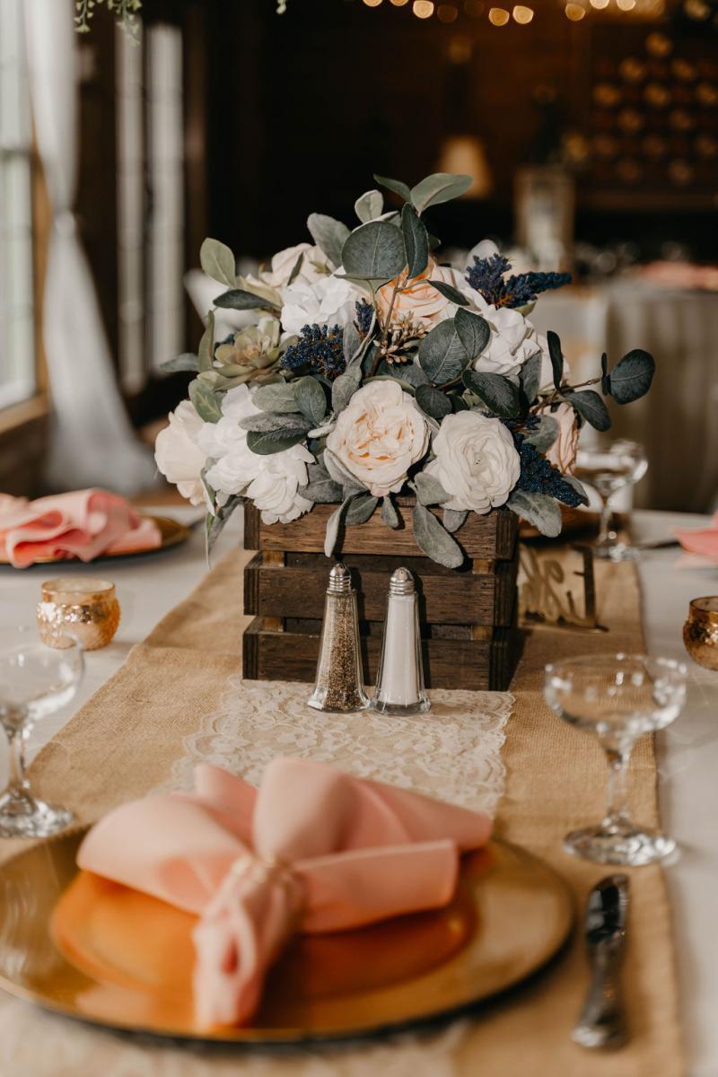 Rustic romantic wedding centerpieces