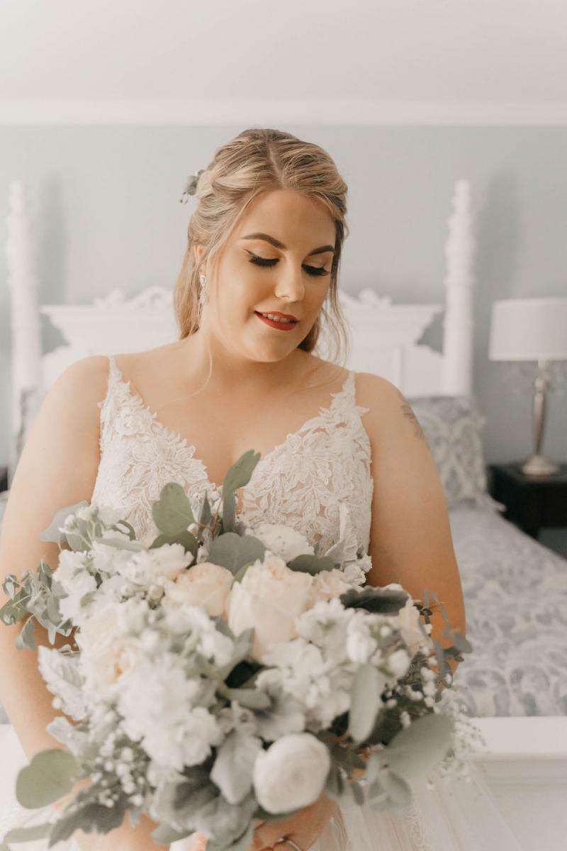 White, cream and blush wedding bouquet