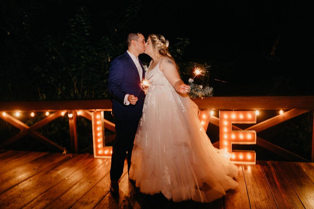 Night time bride and groom wedding photos