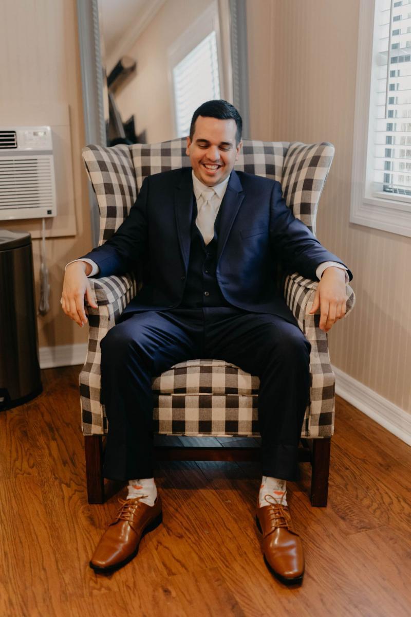 Navy blue groom's suit