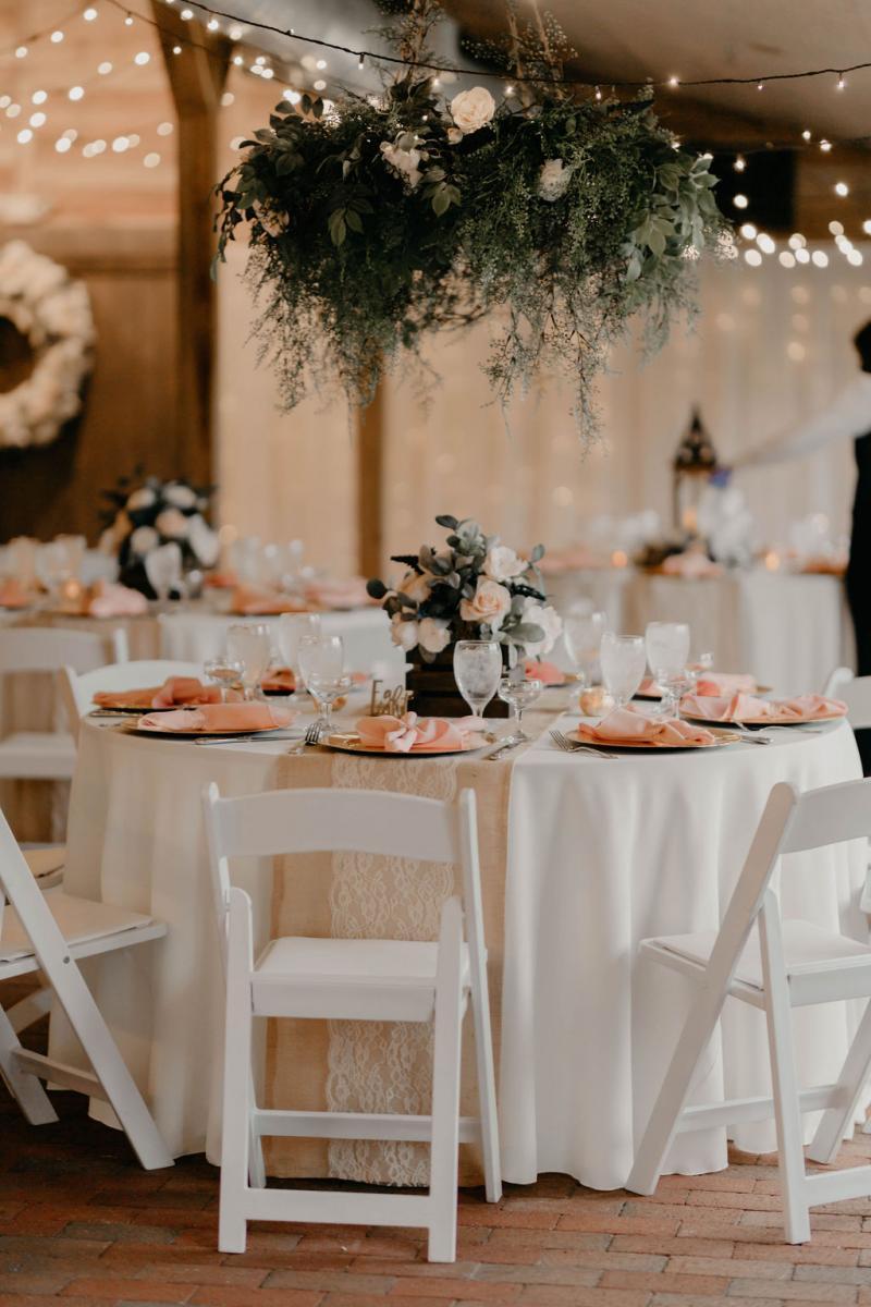 Blush, gold and greenery wedding design