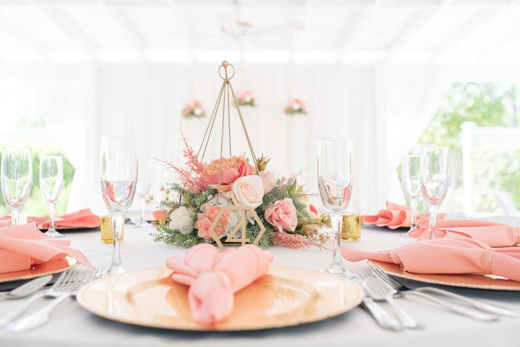 Kathleen and Stephen's pretty in pink wedding centerpieces