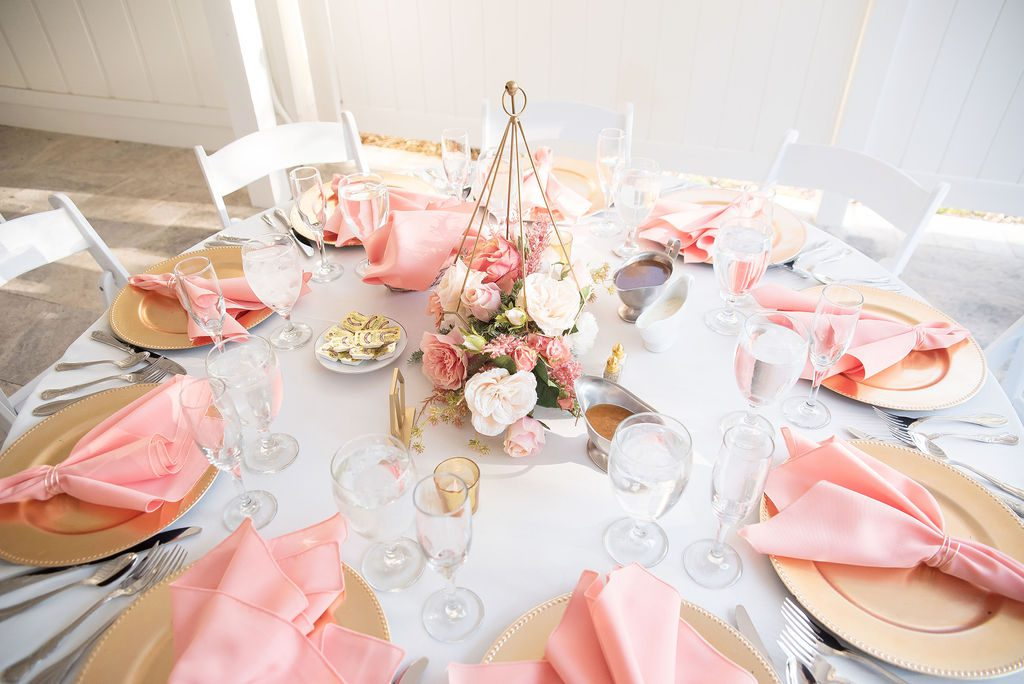 Pink and gold wedding tablescape