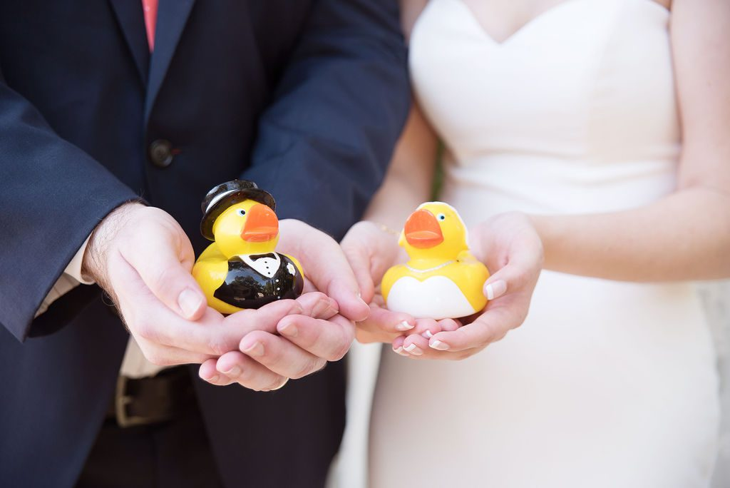 Little rubber bride and groom duckies