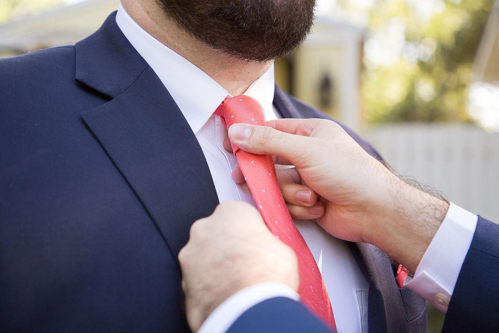 Stephens coral tie