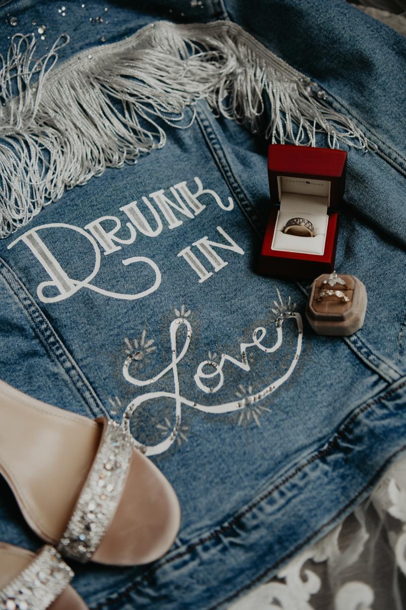 Personalized bridal jean jacket with jewel fringe