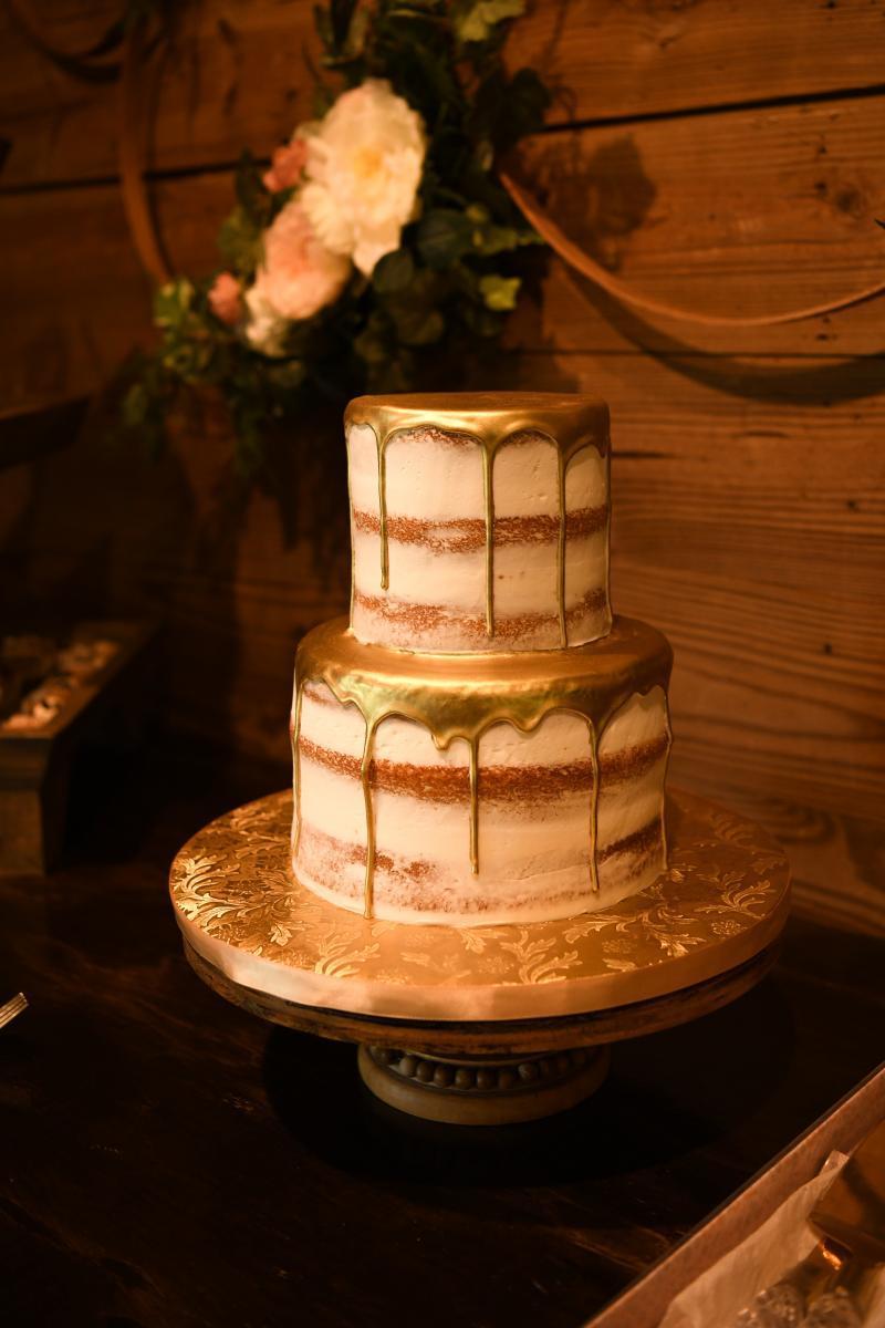 Gold dripped wedding cake