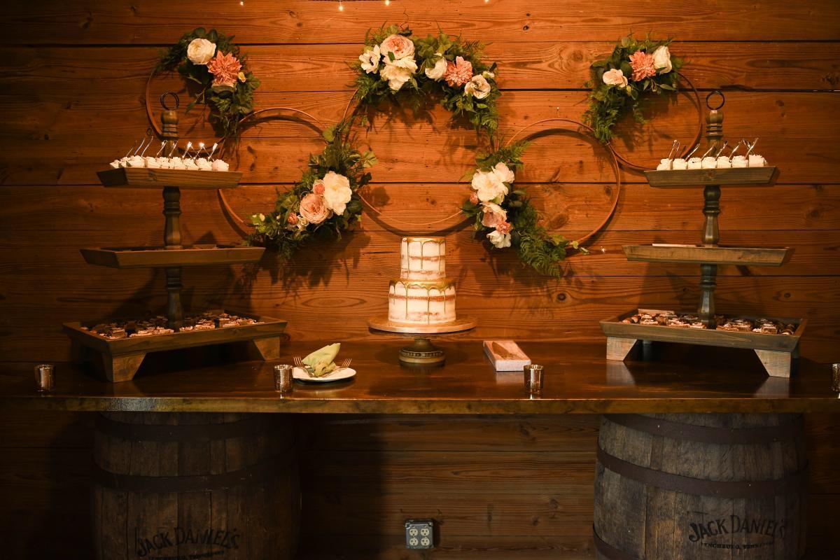 Romantic barn wedding cake table