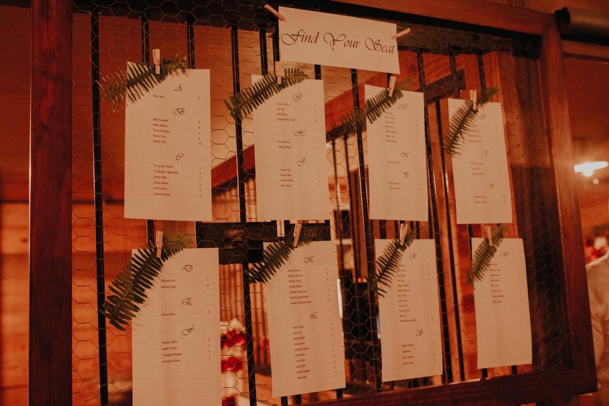 Printed seating charts for Sadie and Kiran's Hindu tropical wedding