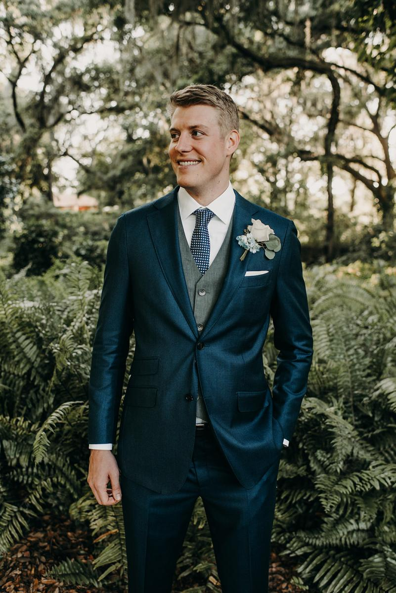 Mitch in his suit ready to walk down the aisle