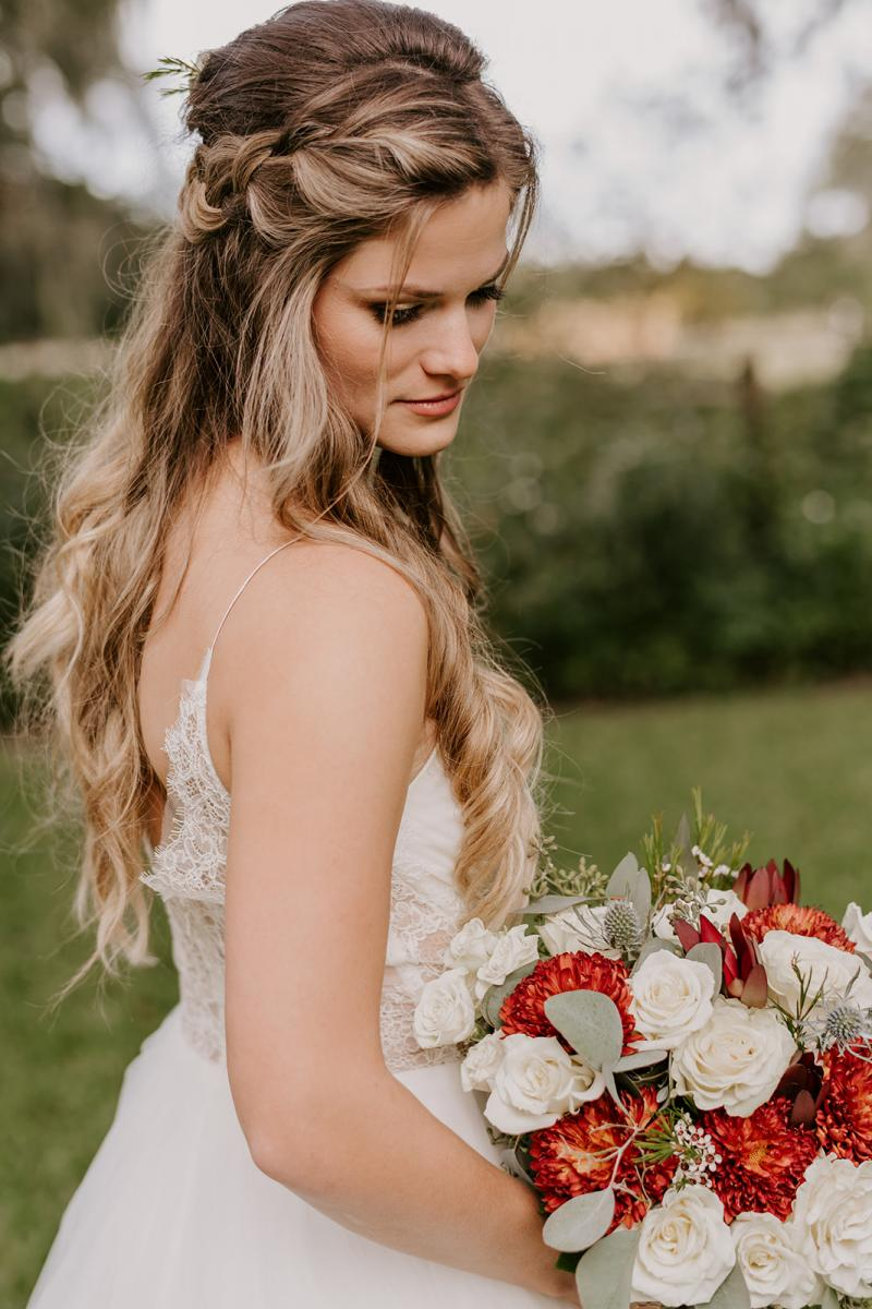 Kirstin in her dress with her gorgeous bouquet