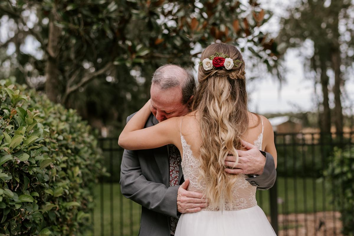 Kirstin's first look with her dad